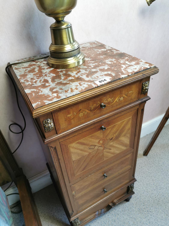 Edwardian inlaid mahogany and kingwood bedside cabinet - Image 2 of 2