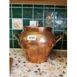 19th. C. copper lidded pot