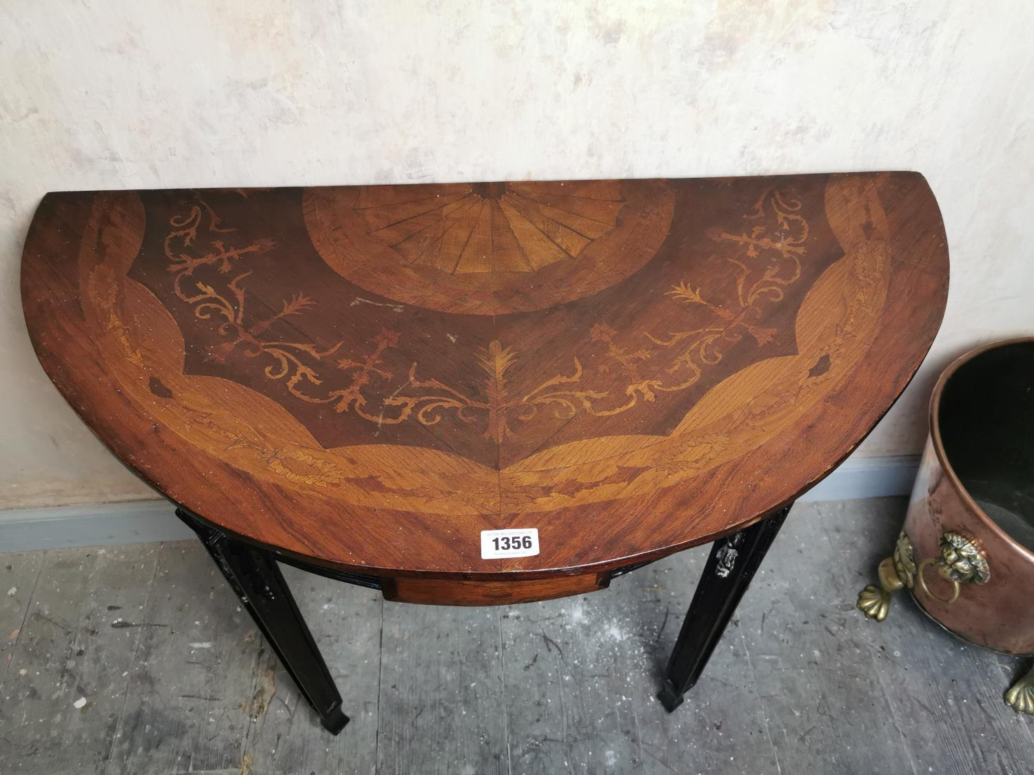 Pair of 19th C. mahogany and satinwood inlaid demi-lune tables - Image 2 of 4