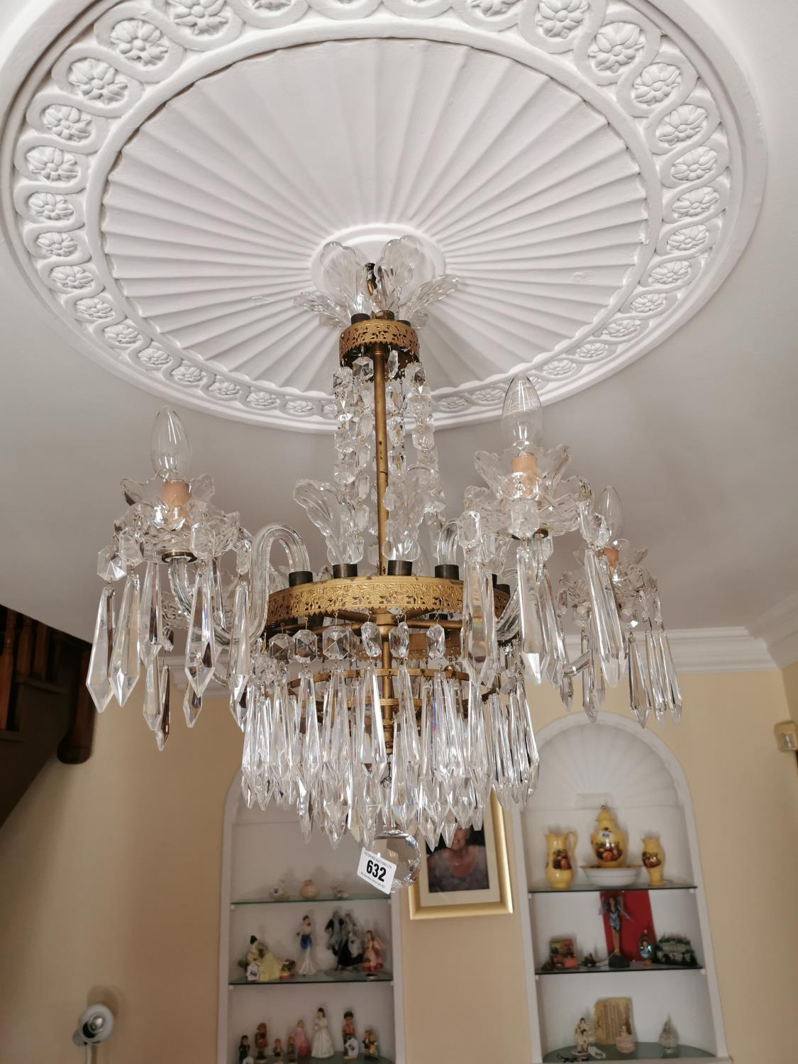 Waterford Crystal five branch chandelier.