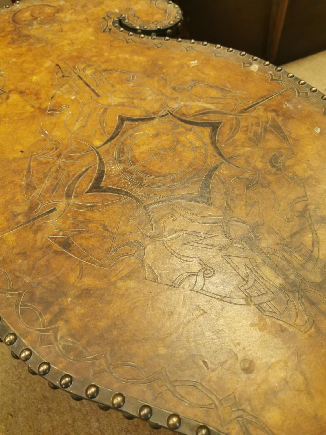 Prison Art table with tooled leather top - Image 2 of 2