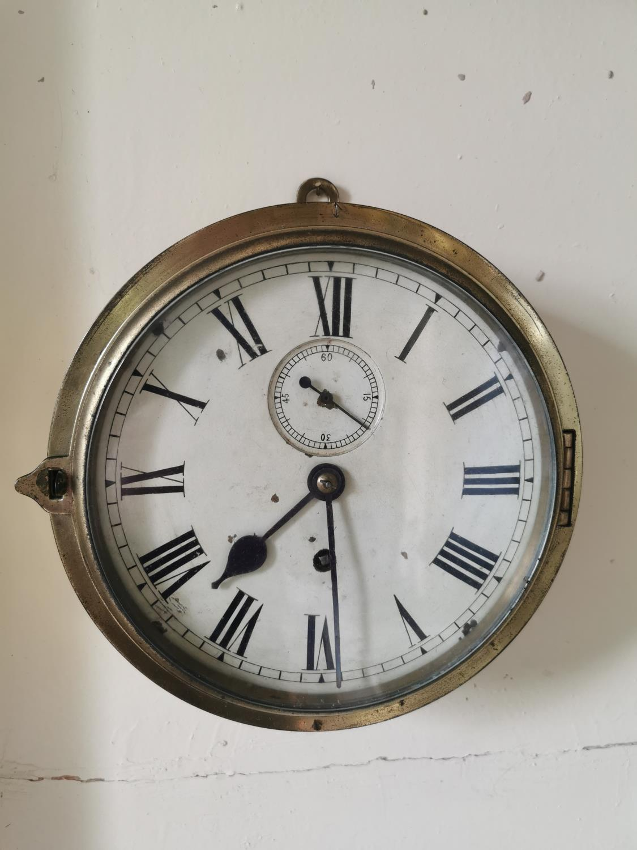 19th. C. brass ship's clock.