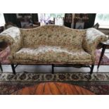 Georgian upholstered mahogany camel backed settee