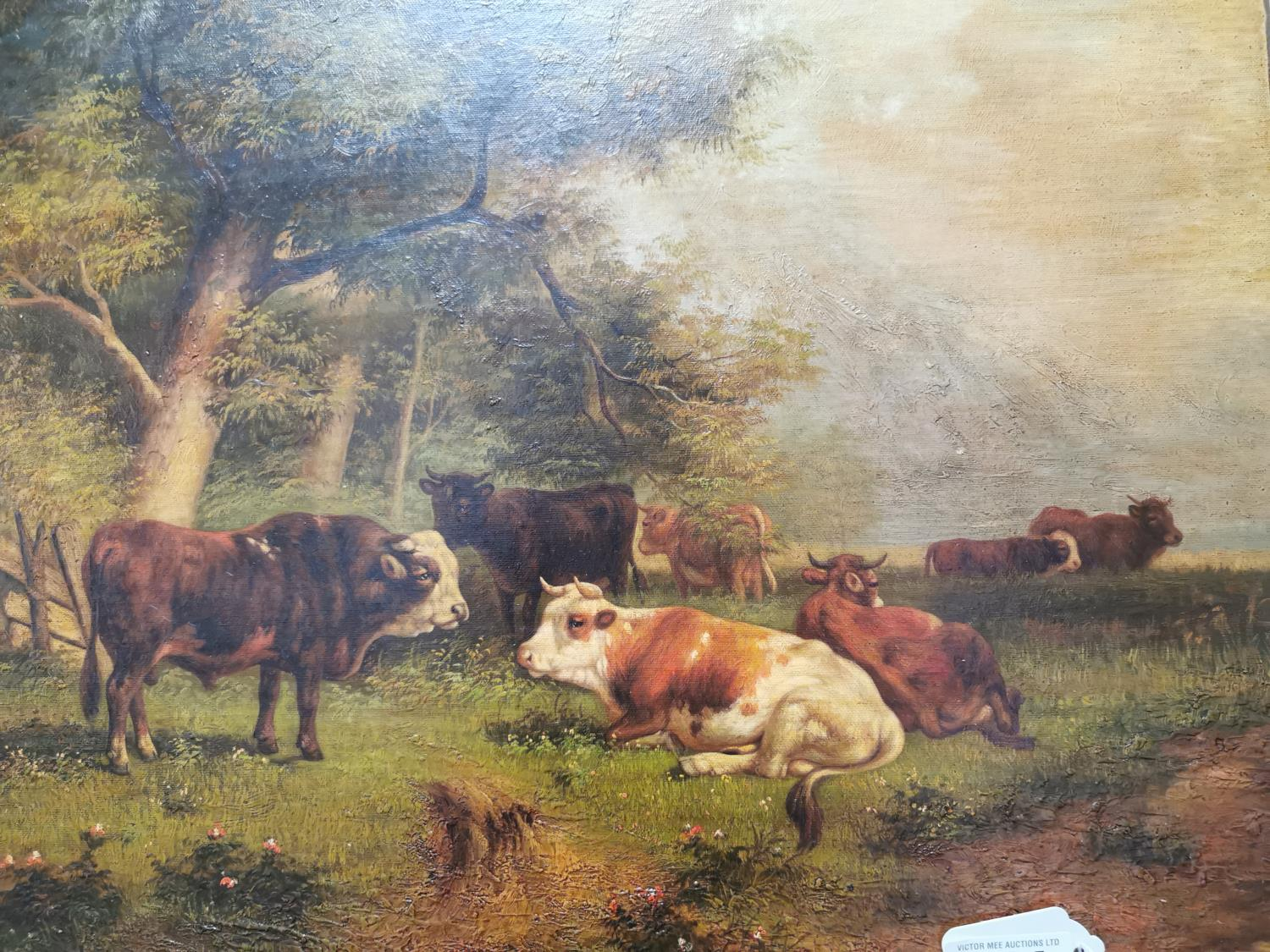 19th. C. Oil on Board Cattle Resting - Image 2 of 2