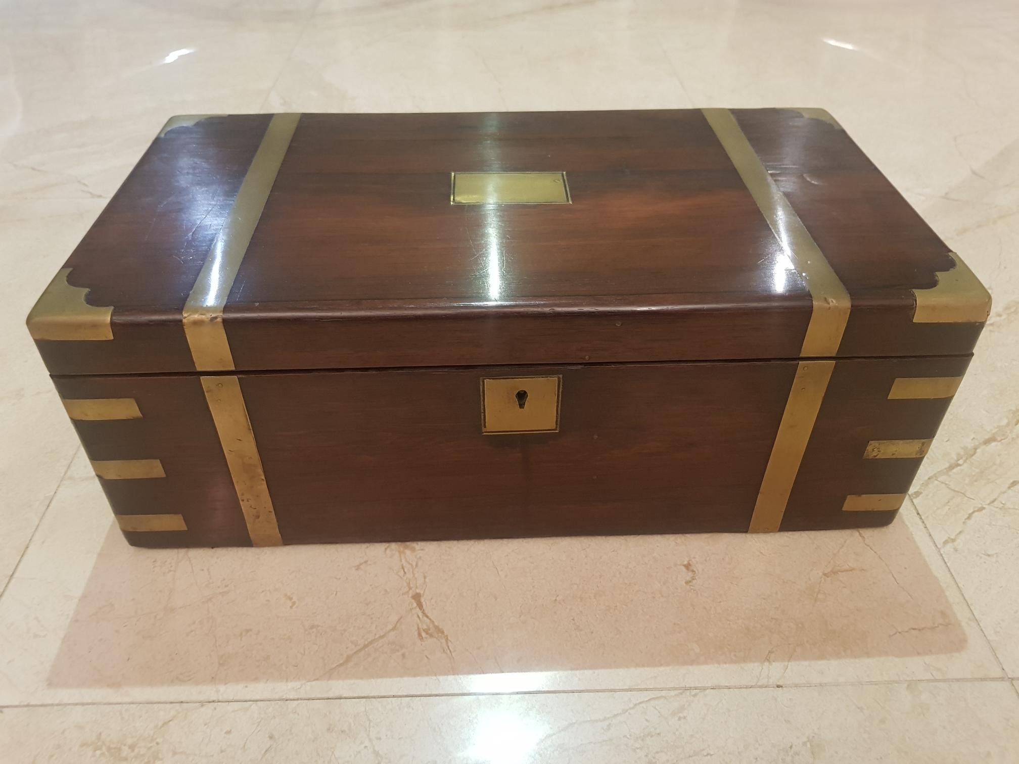 Georgian mahogany brass bound writing slope