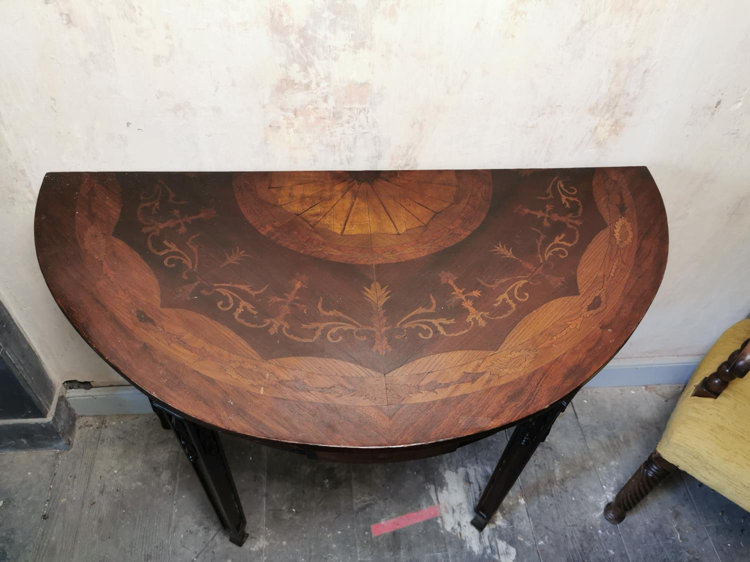 Pair of 19th C. mahogany and satinwood inlaid demi-lune tables - Image 3 of 4