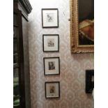 Set of four black and white prints