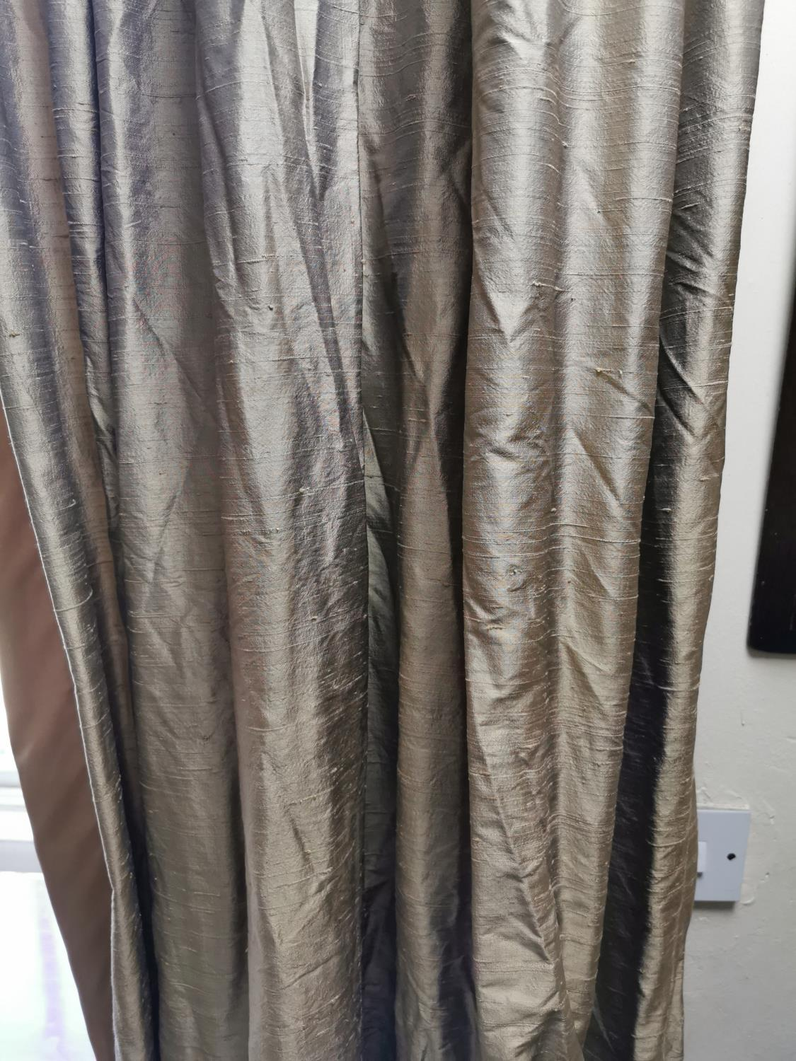 Pair of silk curtains. - Image 2 of 2