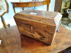 19th C. rosewood inlaid tea caddy.