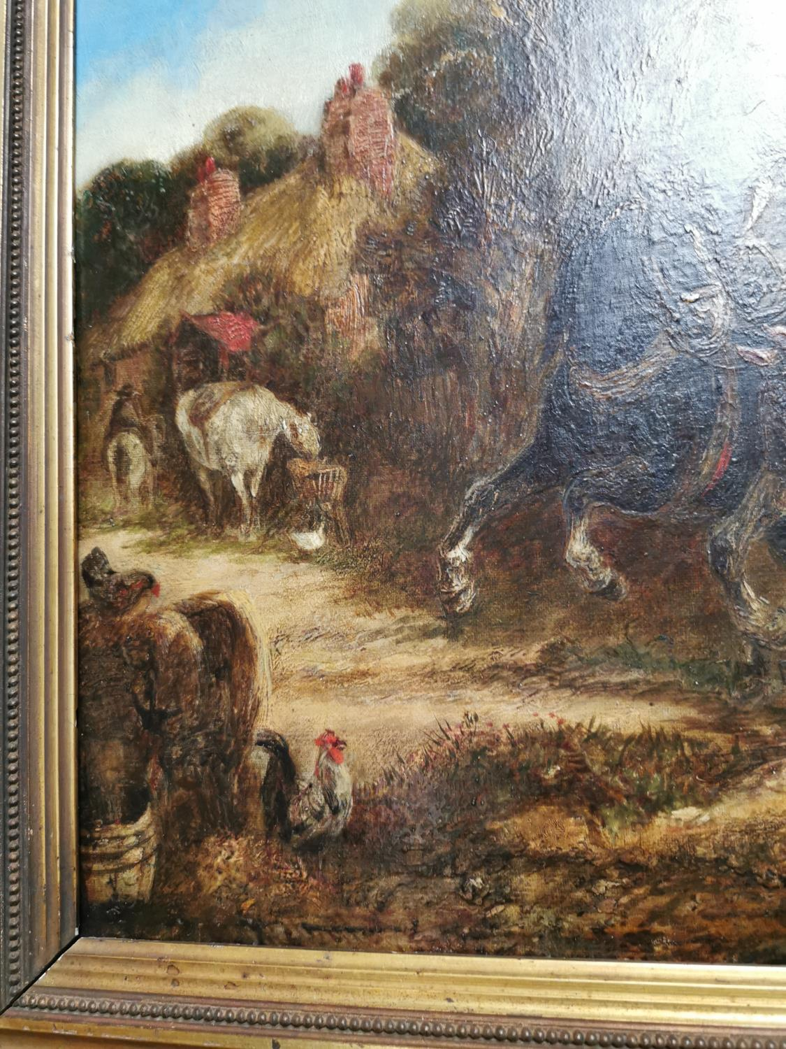 19th C. Oil on Canvas Going To The Market - Image 3 of 3