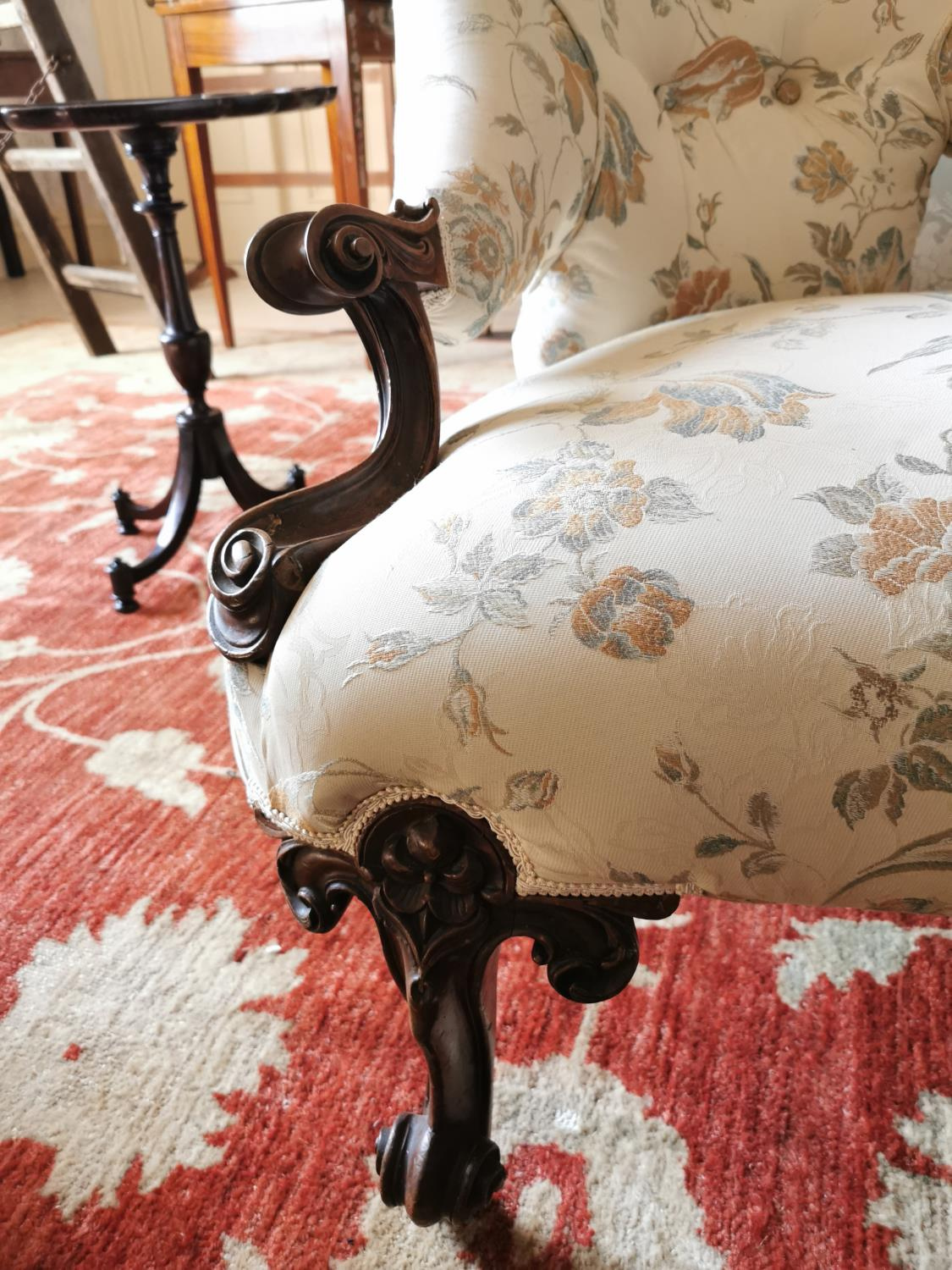 19th C. mahogany and upholstered conversation seat. - Image 3 of 4