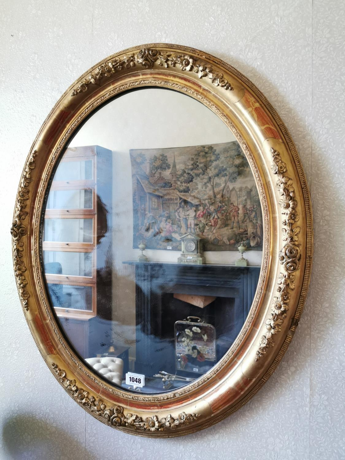 19th. C. giltwood and gesso wall mirror.