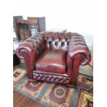 Ox blood leather Chesterfield club chair.