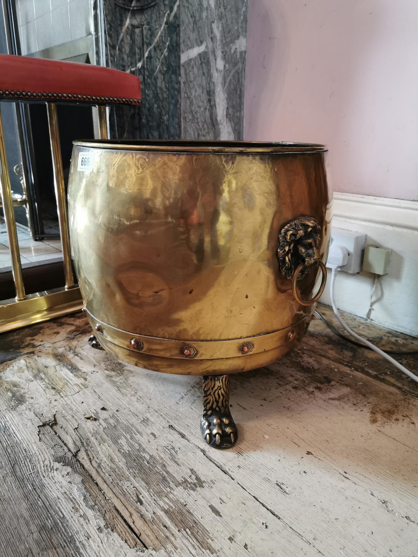 Rare pair of 19th C. brass log buckets. - Image 2 of 3