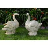 Pair of cast iron models of Geese.