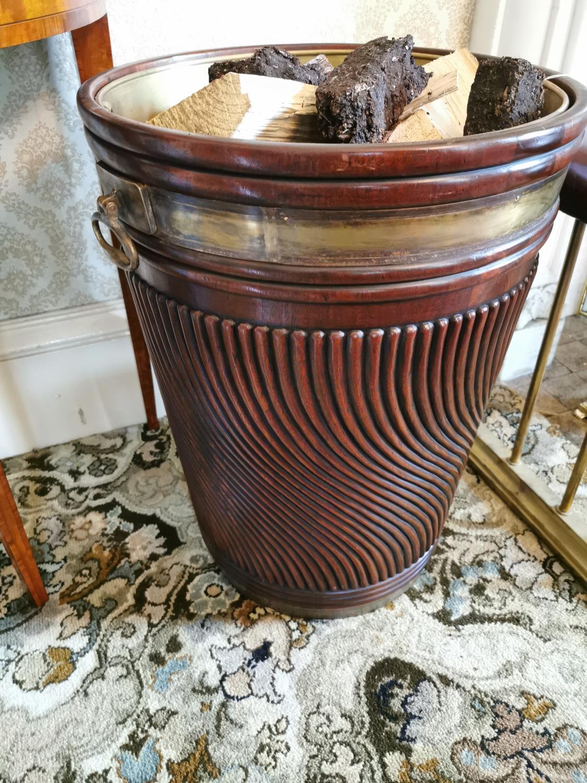 Brass bound mahogany peat bucket - Image 3 of 3