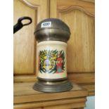 Brass and ceramic jar