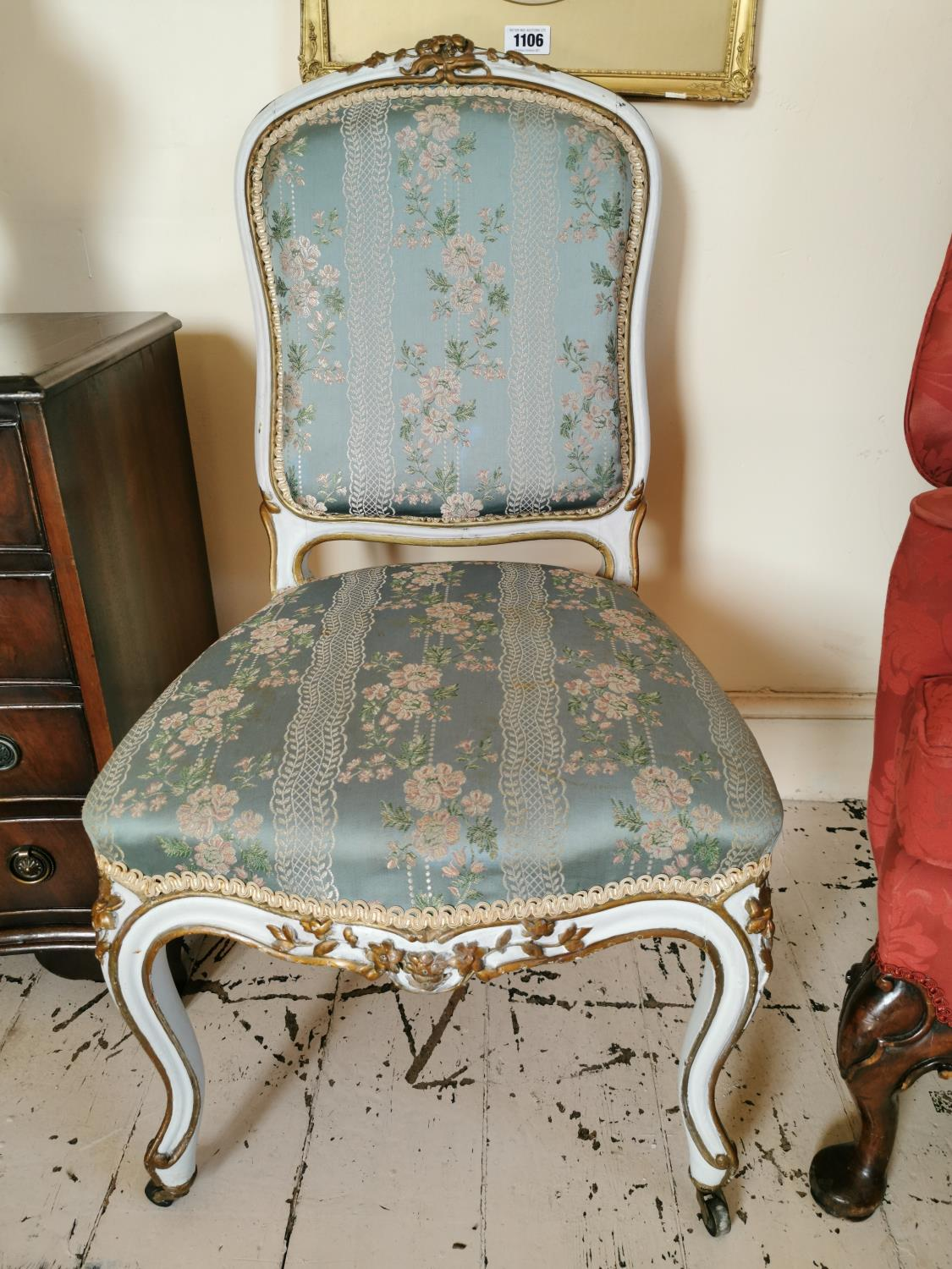 Pair of 19th C. giltwood French side chairs. - Image 2 of 3