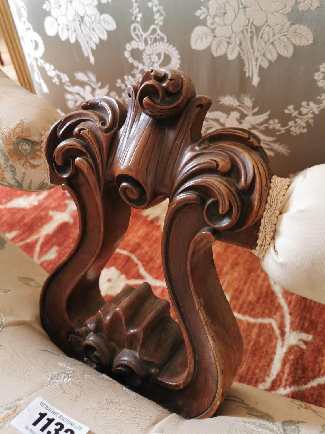 19th C. mahogany and upholstered conversation seat. - Image 4 of 4