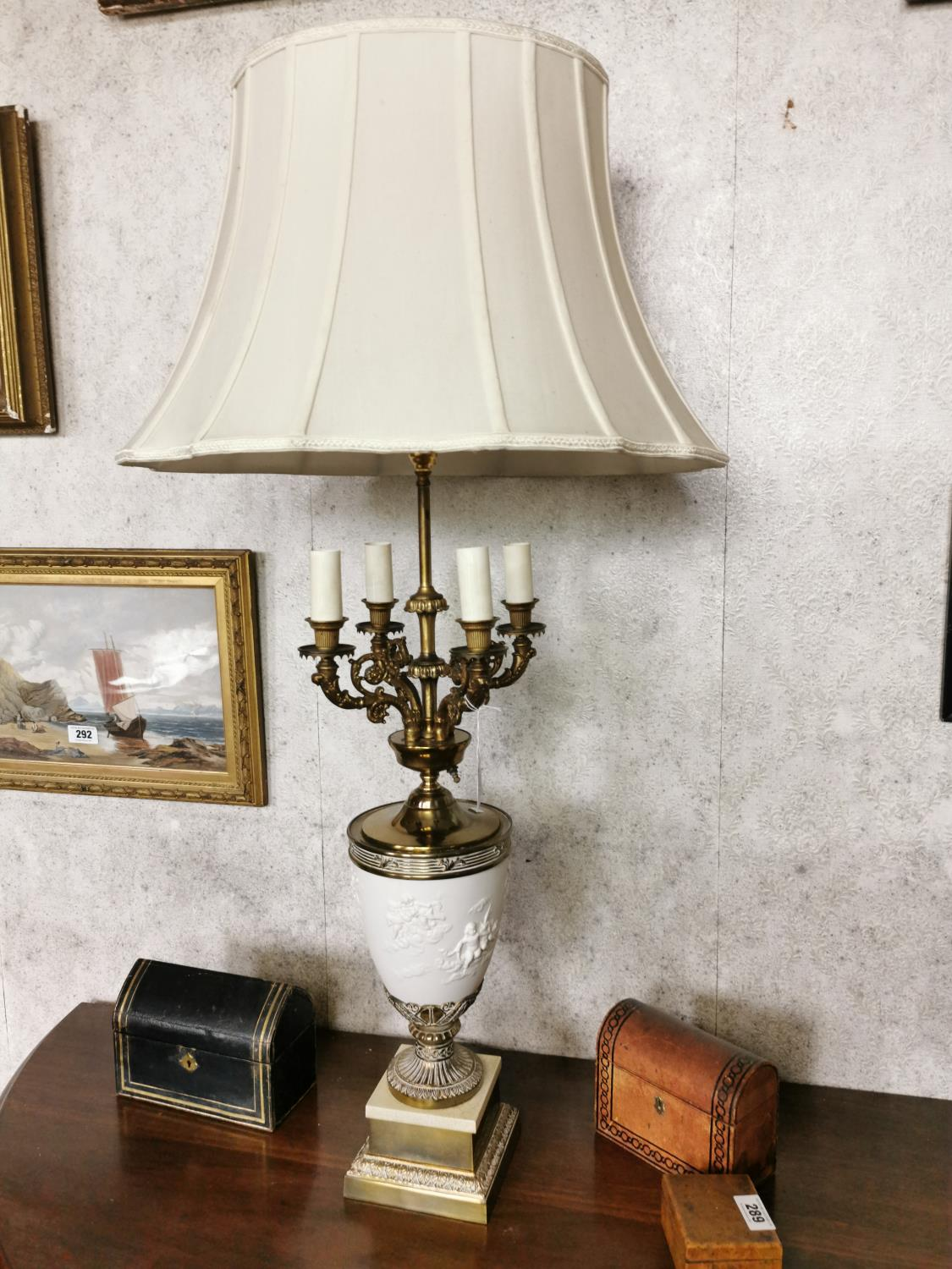 Pair of decorative brass and ceramic four branch table lamps - Image 2 of 6