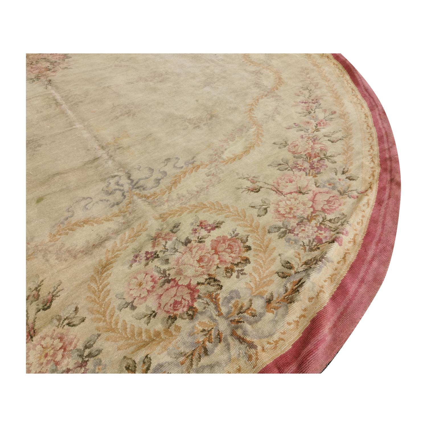 Large early 20th C. hand woven oval carpet. - Image 2 of 6