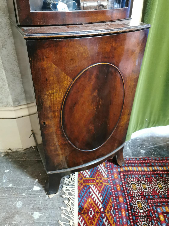 Neat Edwardian mahogany bowfronted bookcase - Image 2 of 3