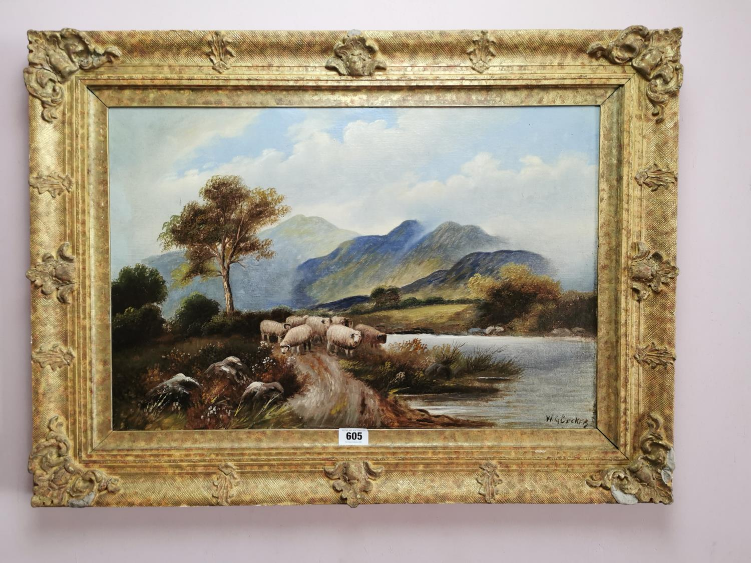 19th C. oil on canvas Mountain and Sheep scene.