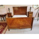 Edwardian inlaid mahogany and kingwood bed.