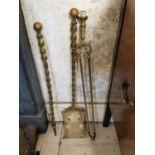 Set of 19th. C. brass fire irons.