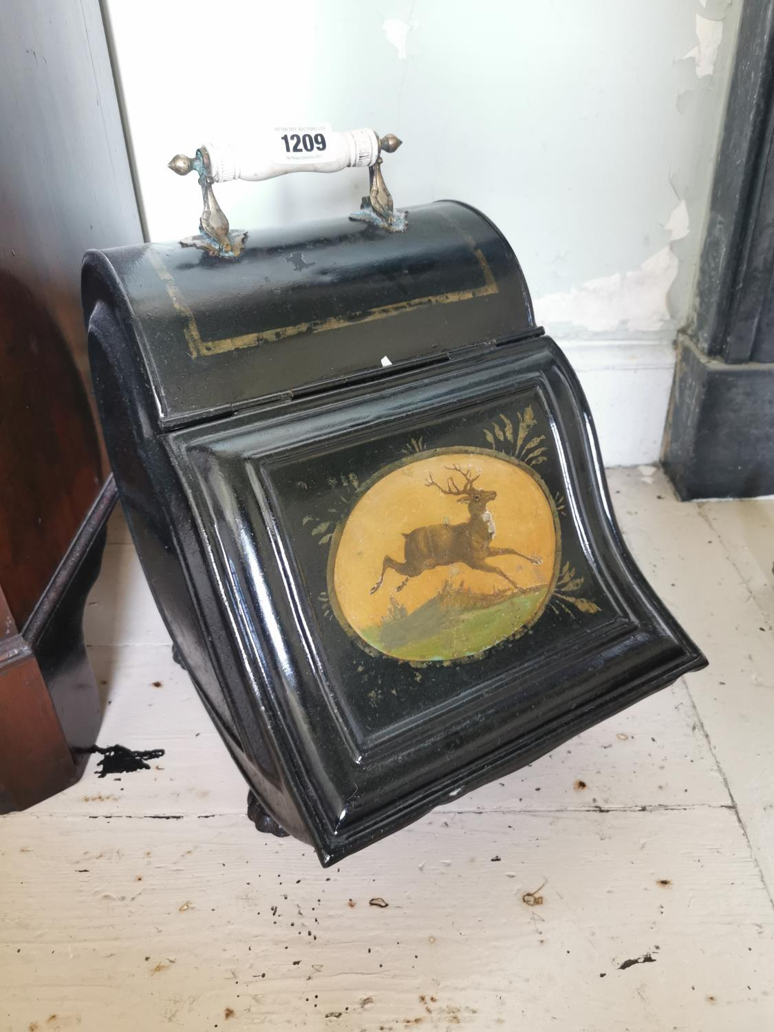 Early 20th C. hand painted metal coal skuttle.