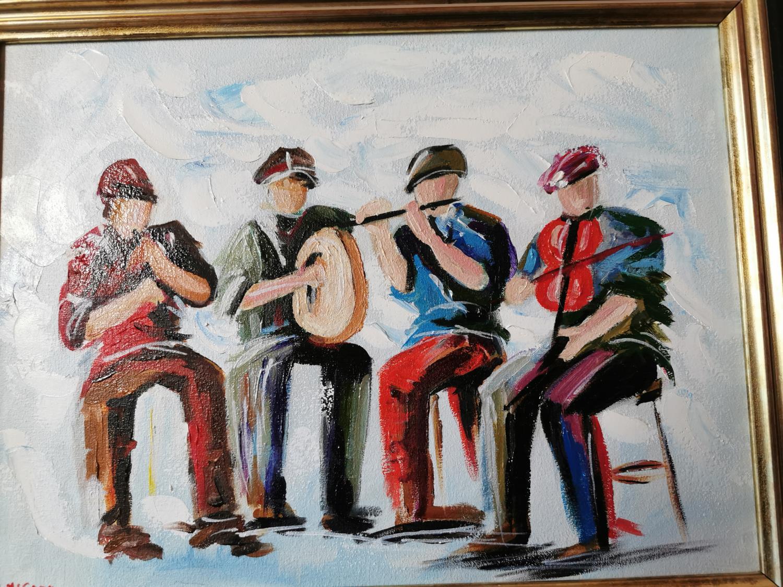 D McCann Musicians Oil on Canvas - Image 2 of 2