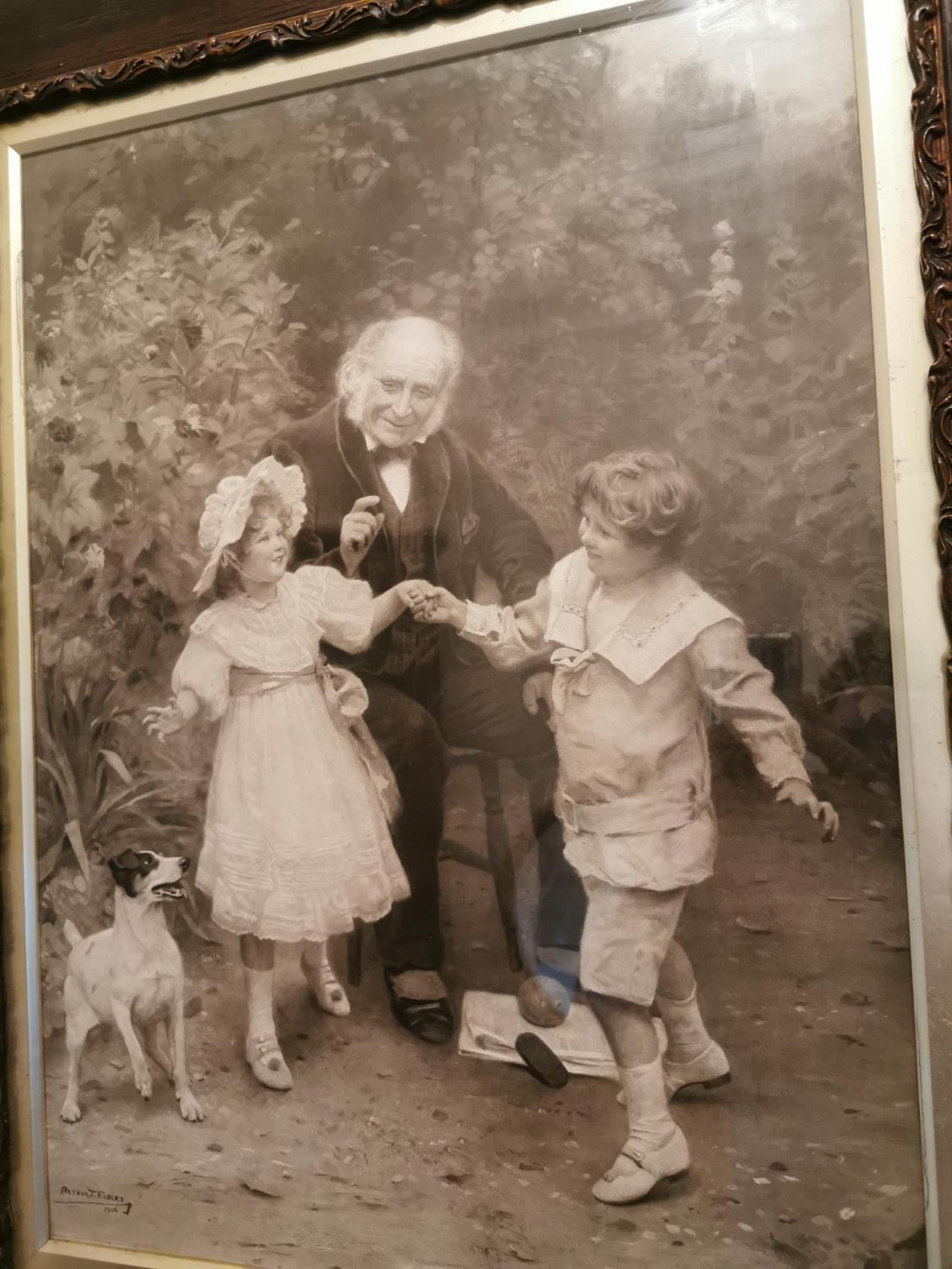 Early 20th C. black and white family print. - Image 2 of 2