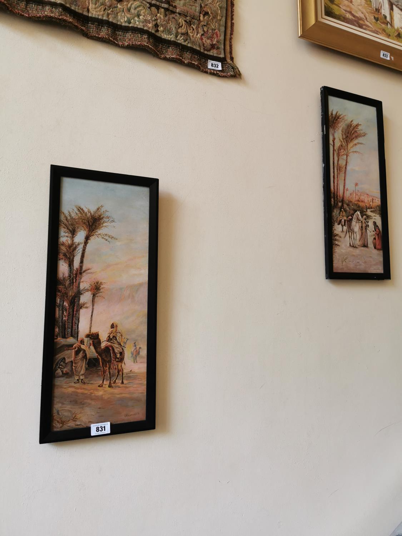 Pair early 20th C. oil on canvas Arabian scenes.