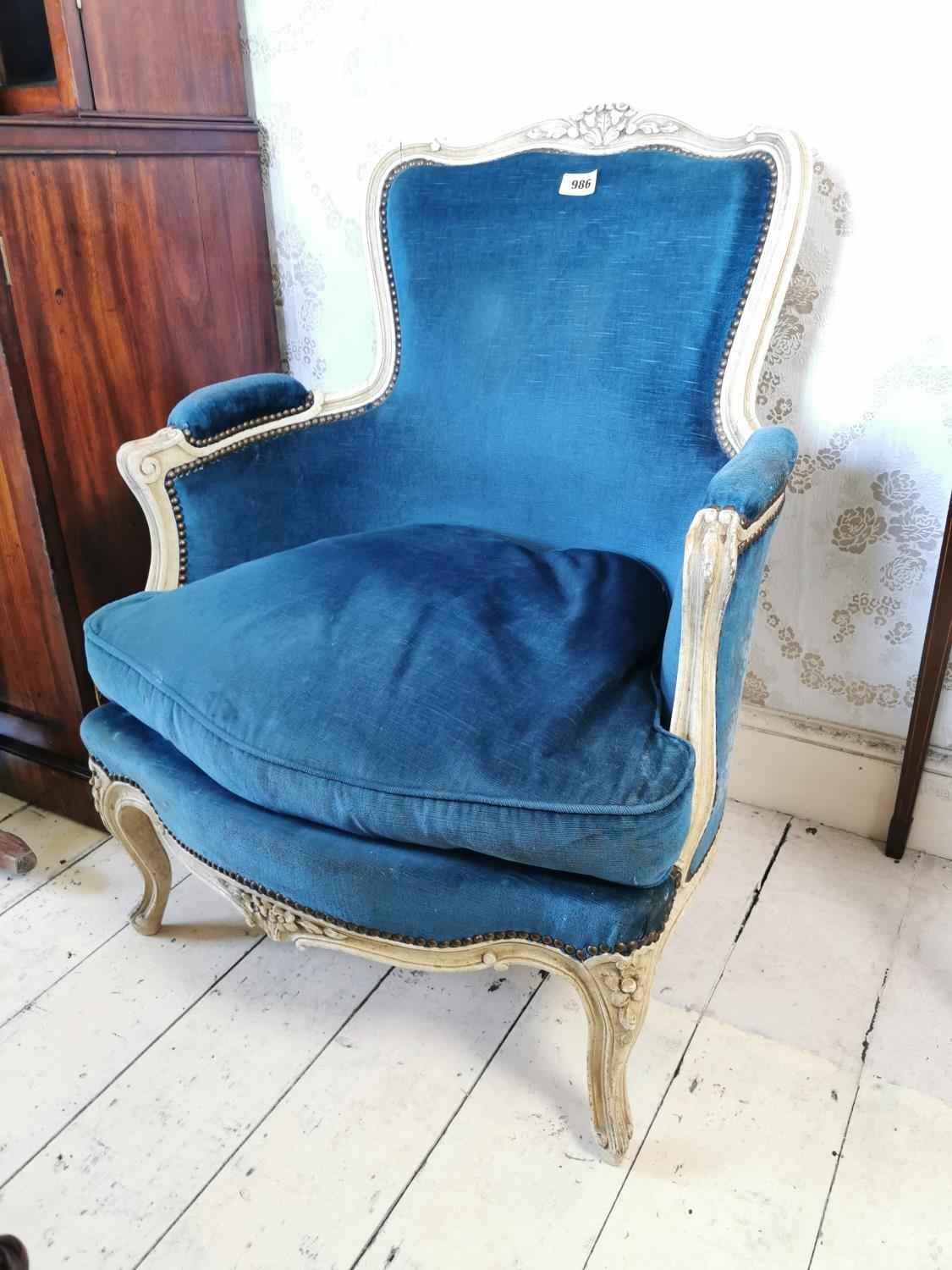 French painted pine and upholstered arm chair.