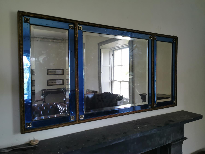 Irish regency blue glass belleved edge mirror.