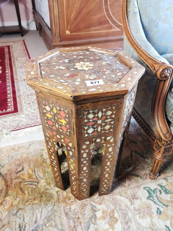 Edwardian Moroccan hard wood wine table.