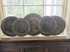 Collection of five 18th. C. pewter platters