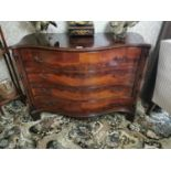 Exceptional quality 19th. C. mahogany serpentine fronted chest
