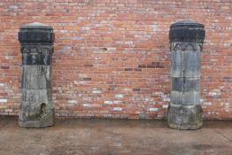 Pair of 19th C. limestone pillars.