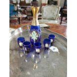 Bristol blue glass six piece drink's set