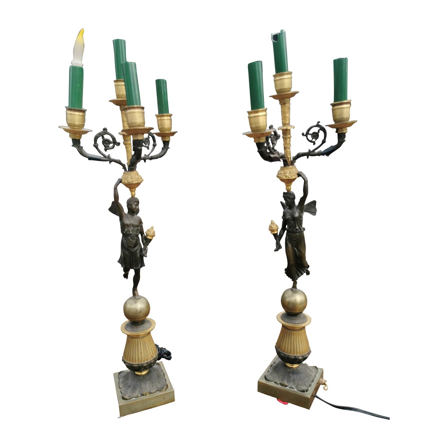 Pair of 19th C. bronze and gilded metal table lamps.
