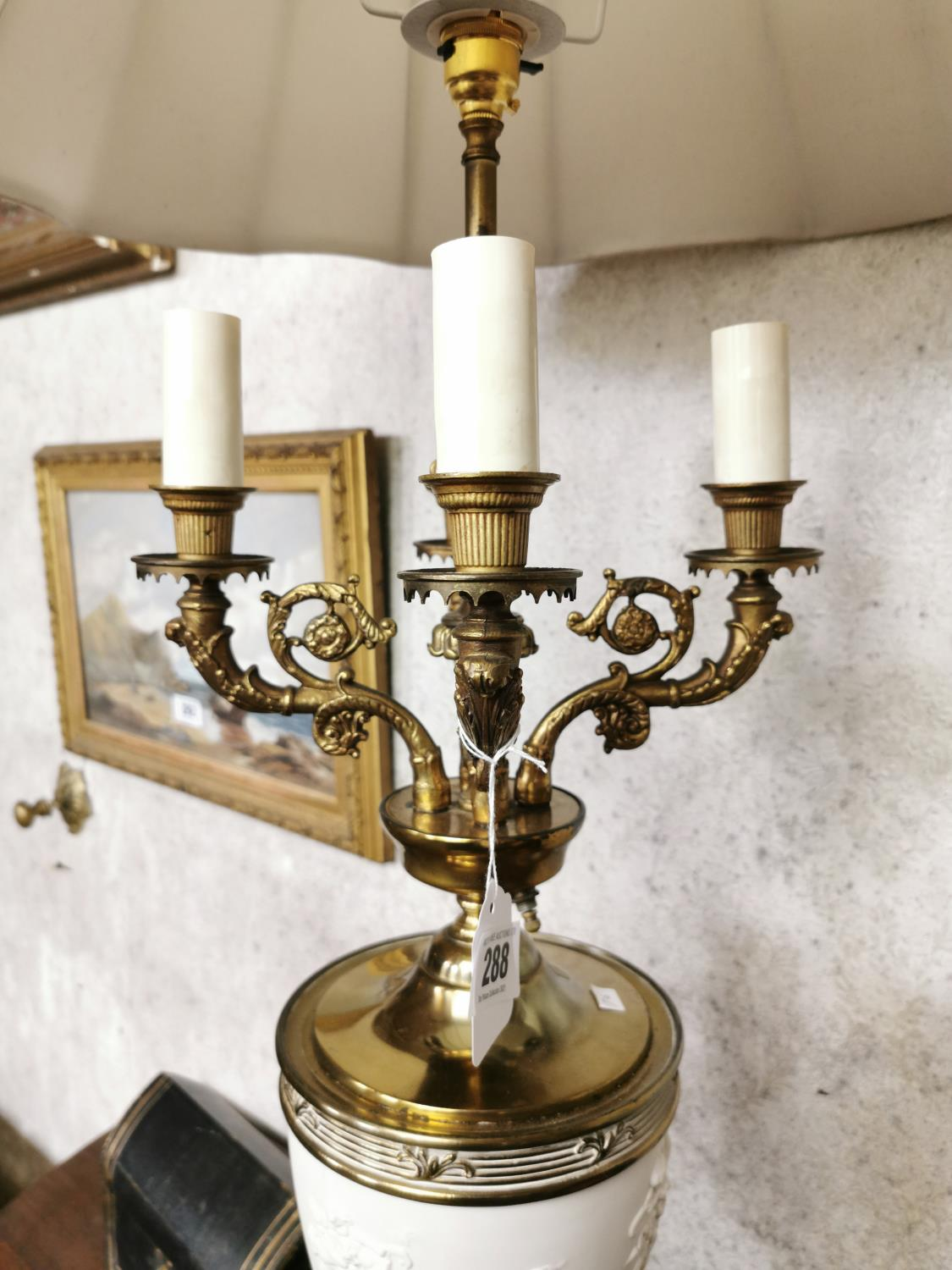 Pair of decorative brass and ceramic four branch table lamps - Image 4 of 6