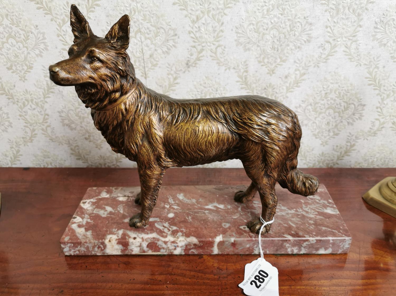 Bronze model of an Alsatian Dog