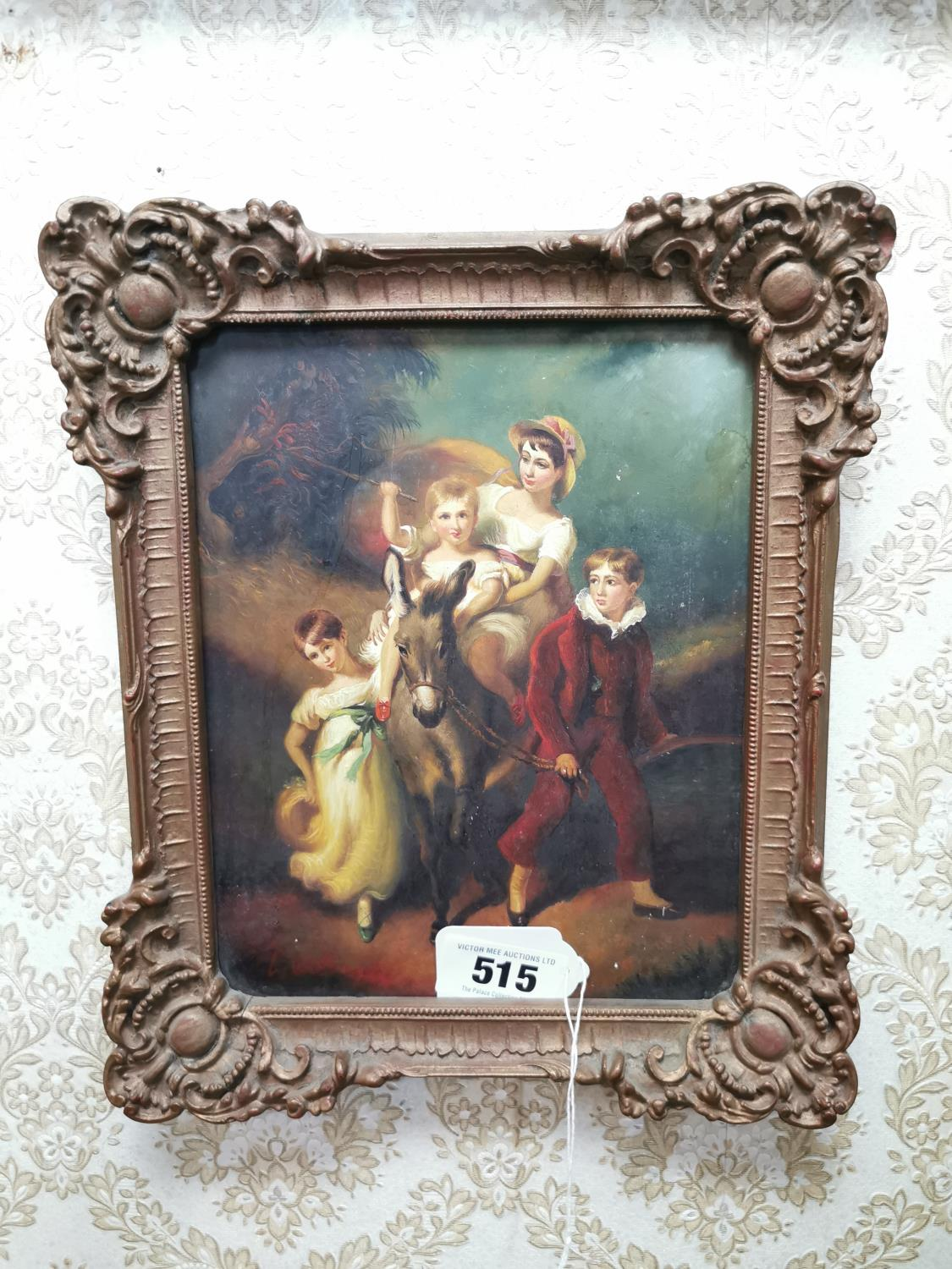 Early 19th. C. Oil on Board Children on Donkey L Williams