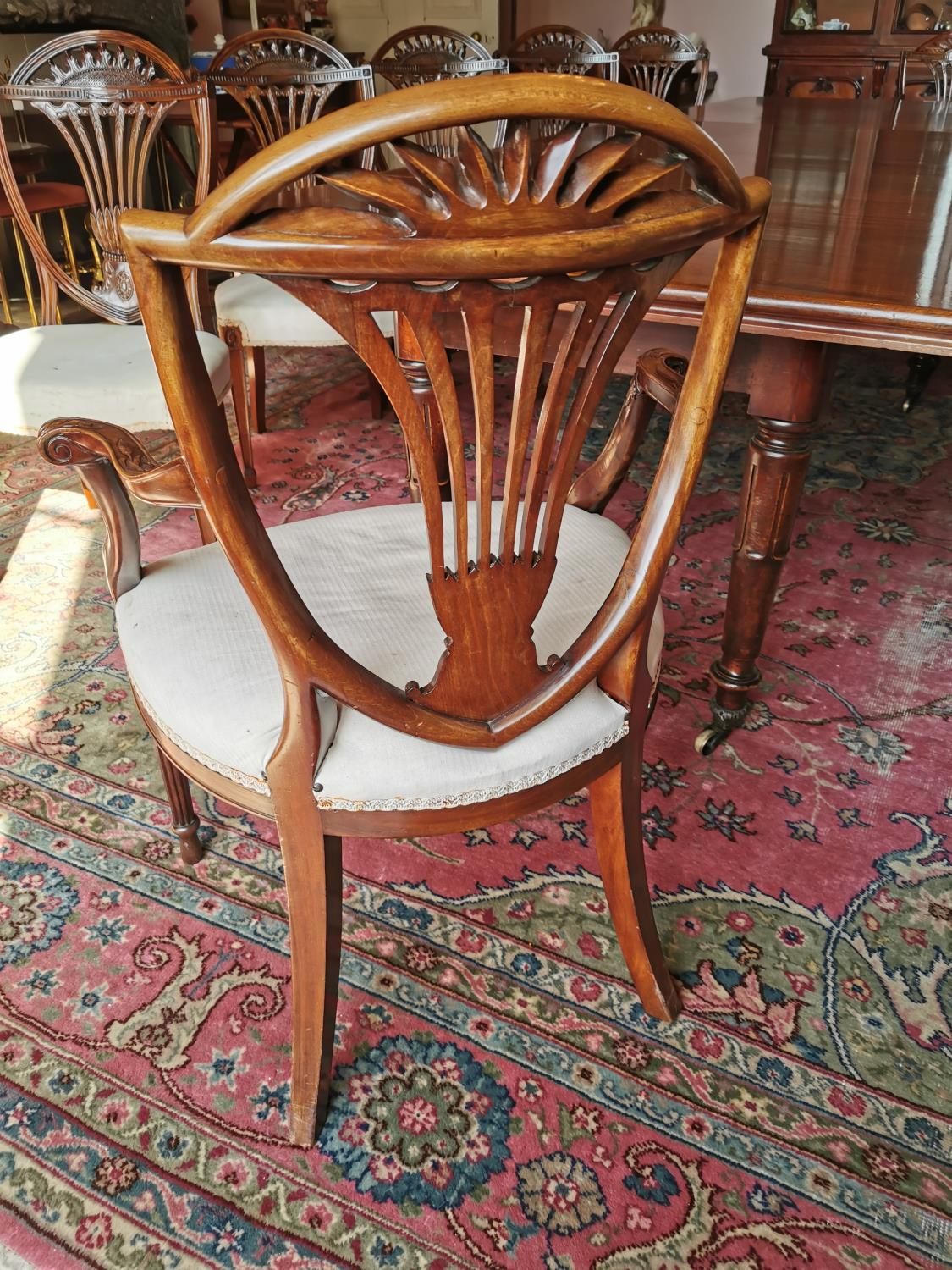 Set of ten plus two Edwardian mahogany dining chairs. - Image 4 of 6