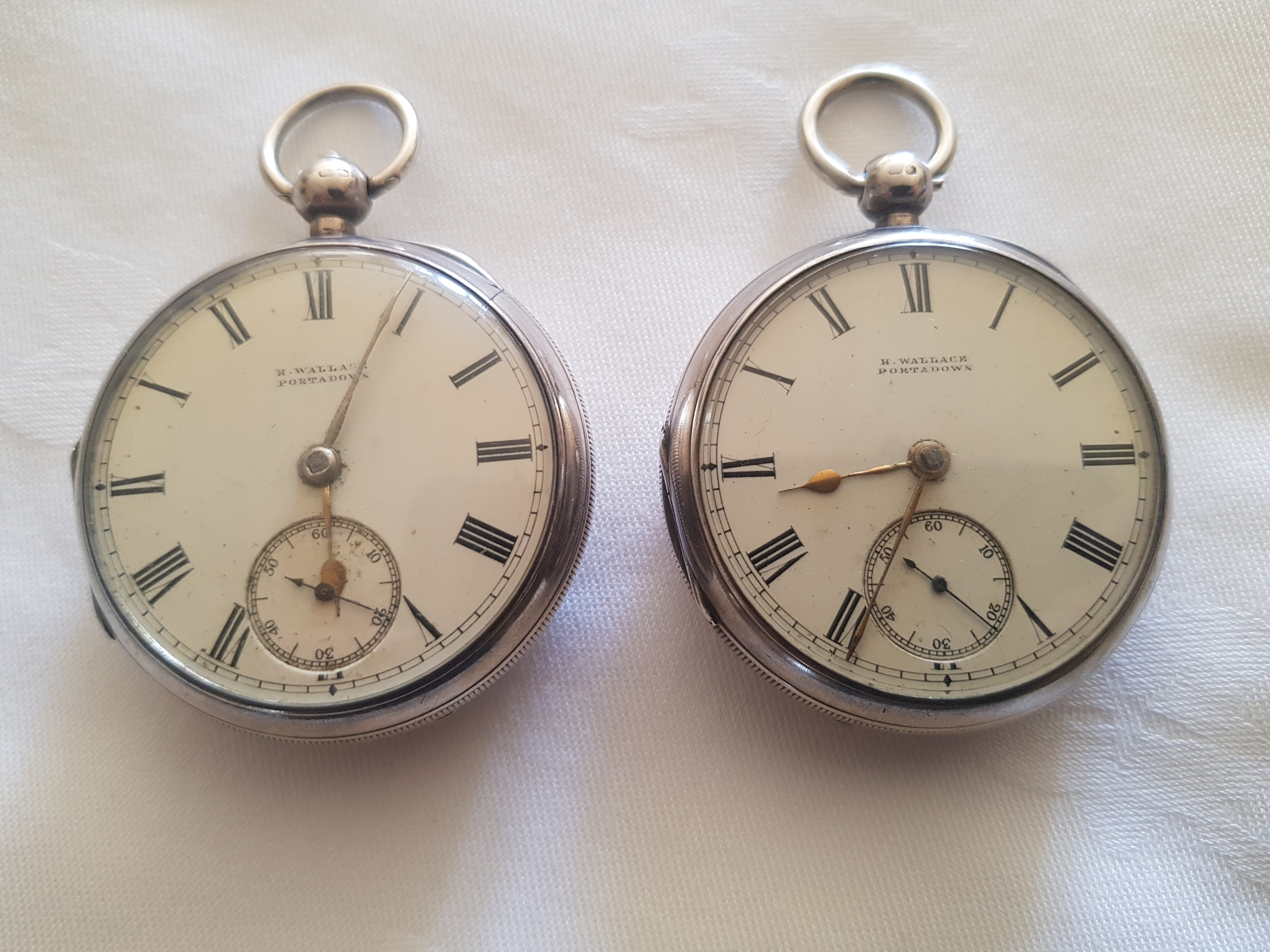 Pair of 19th. C. silver fob watches
