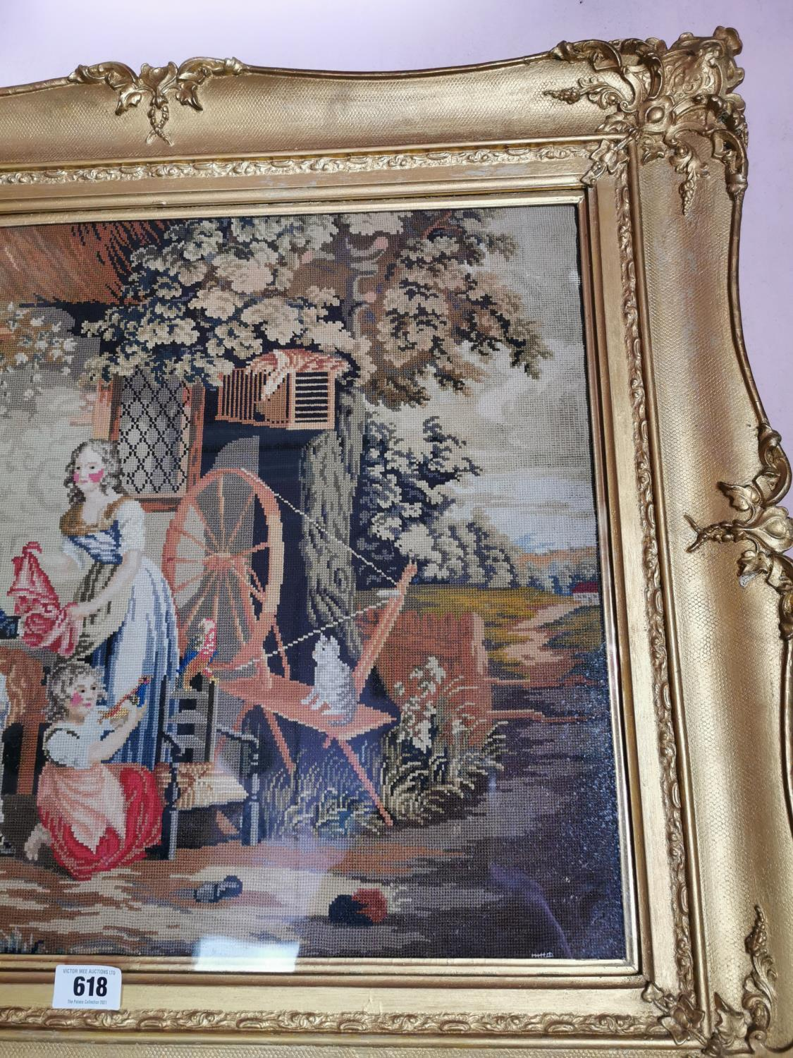 Early 20th C. tapestry Family scene. - Image 3 of 3