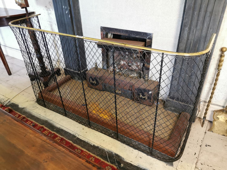 18th C. brass and metal nursery fire fender.