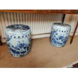 Pair of Oriental ceramic garden stools.