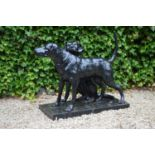 Cast iron group of Hunting Hounds